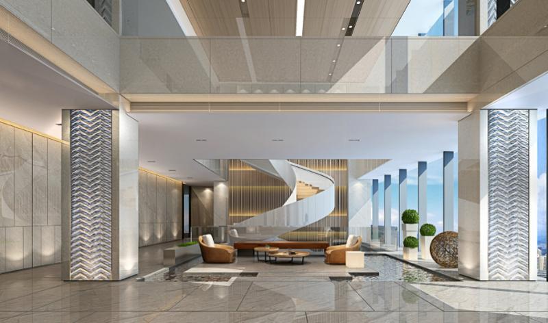 大型办公室内装修效果图