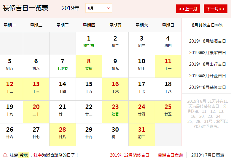 2019年8月办公室装修开工黄道吉日