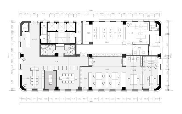 600平方米办公室装修设计平面图