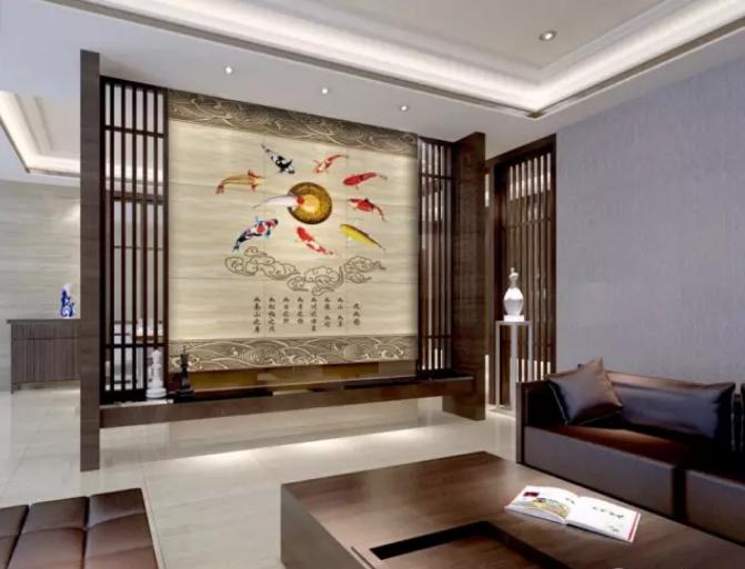 中式办公室隔断背景墙设计效果图